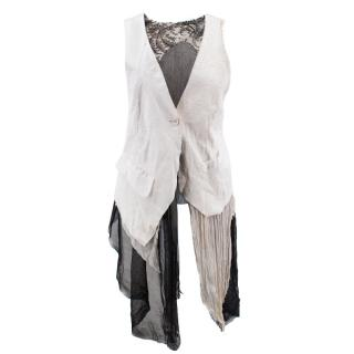 If Six Was Nine Black & White Leather & Silk Lace Top