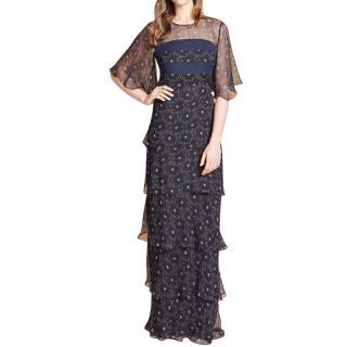 Beulah Aurora star print silk tiered gown
