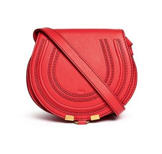 Chlo� 'marcie' Small Leather Crossbody Saddle Bag in Red
