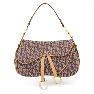 Christian Dior Brown Monogram Canvas Saddle Bag