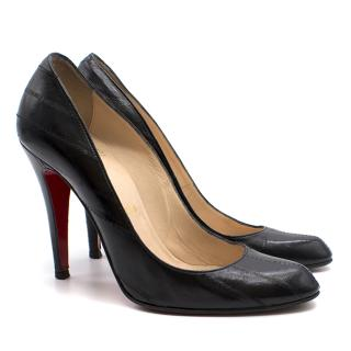 Christian Louboutin black textured leather pumps