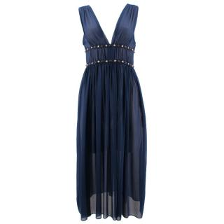Sandro navy star embellished-waist chiffon dress