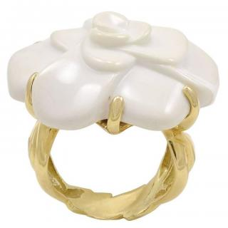 Chanel large white camellia agate ring