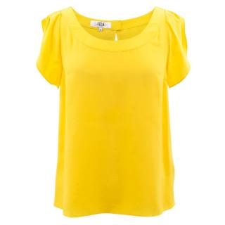 Tibi yellow silk top