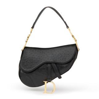 Christian Dior Black Ostrich Leather Saddle Bag