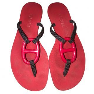 Hermes Red Kala FlipFlops
