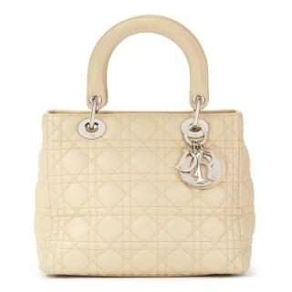 Christian Dior Biege Quilted Lambskin Lady Dior MM