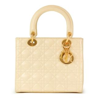 Christian Dior Vanilla Quilted Patent Leather Lady Dior MM