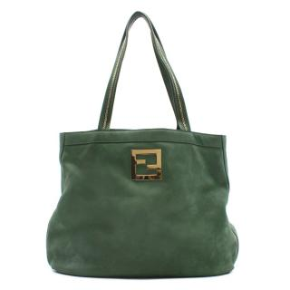 Fendi green leather and suede tote bag