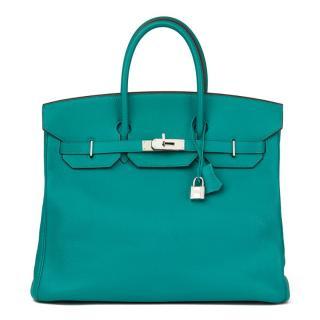 Hermes Blue Paon Chevre Mysore Leather Birkin 36cm HAC