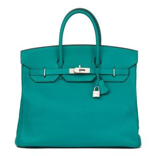 Hermes Blue Paon Chevre Mysore Leather Birkin 36cm HAC