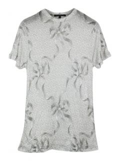 Christopher Kane ribbon bow print grey T-shirt