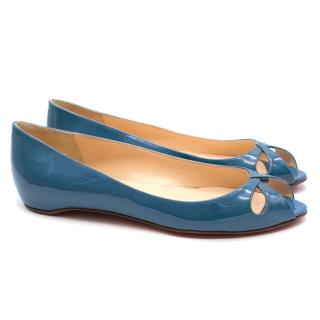 Christian Louboutin blue patent leather open toe flats