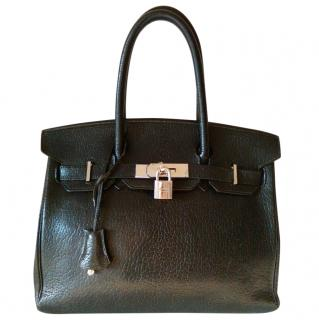 Hermes 30cm Birkin Bag in Black Ch�vre Leather with Spa receipt