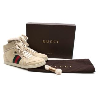 Gucci cream suede shearling high-top trainers