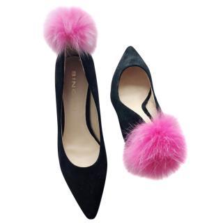 Bing Xu pink pom pom heels