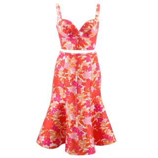 Michael Kors pink floral jacquard bustier top and trumpet skirt set