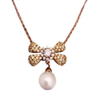 Ambrosia Couture Citrine Pearl Drop Necklace