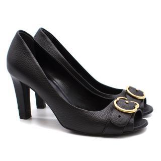 Gucci black leather peep toe pumps