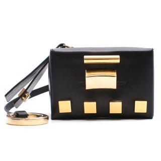 Stuart Weitzman black leather coin purse