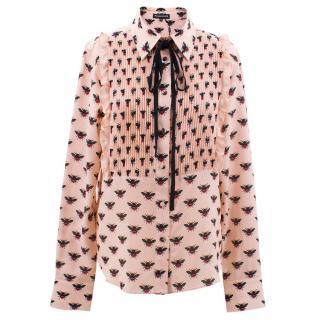 Markus Lupfer dusty pink bee print silk shirt