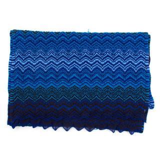 Missoni blue pattern wool blend scarf