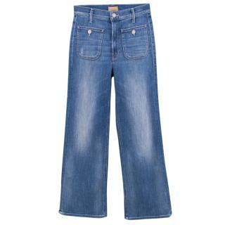 Mother denim washed wide leg jeans
