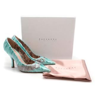 Paciotti By Midnight Crystal-embellished ruched satin pumps