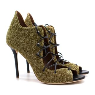 Malone Souliers Savannah gold lurex lace-up sandals