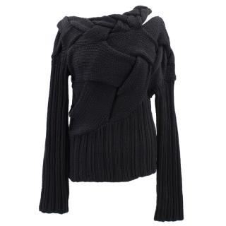 Dagmar black cotton chunky knitted jumper