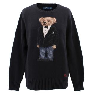 Polo Ralph Lauren black wool blend teddy bear jumper