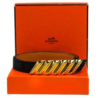 Hermes black leather belt with Gold hardware