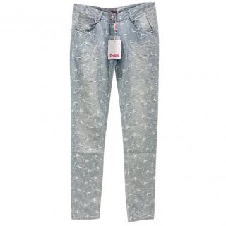 Blumarine Filigree Embroidered Pale Blue Jeans