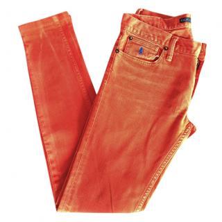 RALPH LAUREN washed orange slim fit jeans