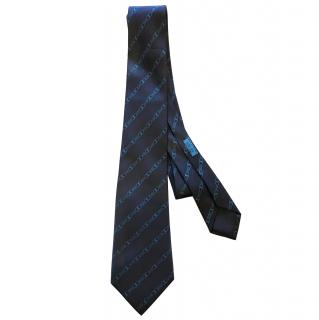 Hermes 100% Silk Blue Tie with Chain Motif RRP £160