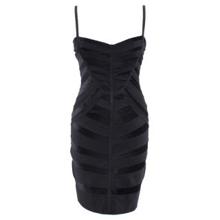 Herve Leger Black Velvet-paneled Bandage Dress