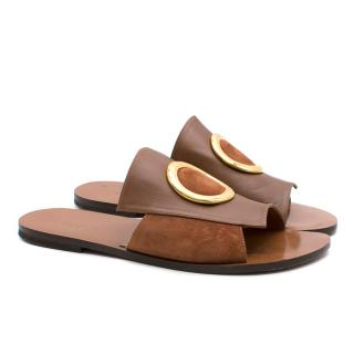 Neous brown leather slide sandals