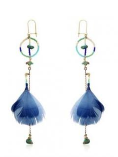 Etro gold-plated, turquoise, bone, blue feather earrings