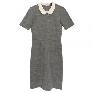J Crew white collar grey dress