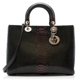 Dior python leather black bag