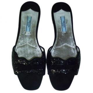 Prada Suede Glitter Slip On Flats
