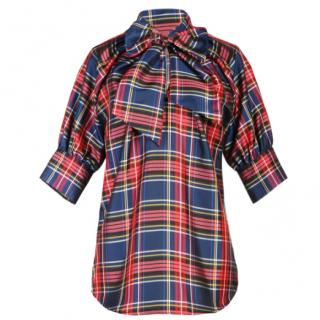Love Moschino Plaid Bow Blouse