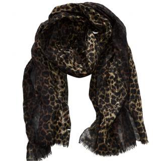 Saint Laurent leopard print wool pleated scarf