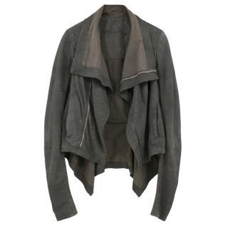 Rick Owens grey suede biker jacket