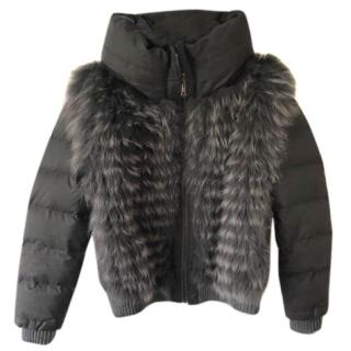 Hockley Grey Puffer Fox fur front Jacket