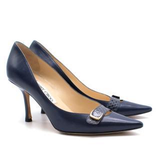 Jimmy Choo navy leather heels