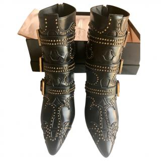 Cesare Paciotti Studded Black Ankle Boots