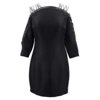 Ralph Lauren Collection black silk lace up dress