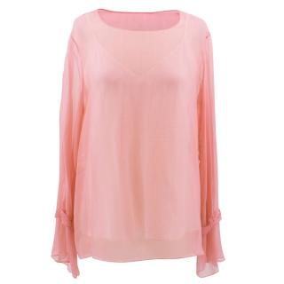 The Row pink sheer blouse