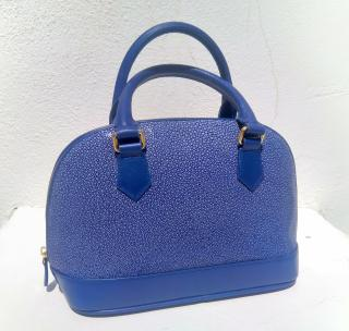 Blue stingray leather handbag